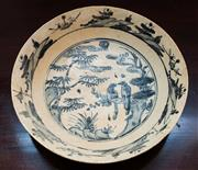 Sale 8270 - Lot 12 - Late Ming blue & white Kraak export ware bowl decorated with birds, D 30cm