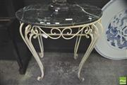 Sale 8302 - Lot 1009 - Marble Top Garden Table