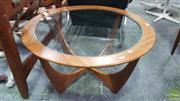 Sale 8409 - Lot 1077 - Round G-Plan Atmos Coffee Table with Glass Top