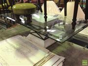 Sale 8412 - Lot 1090 - Bevelled Edge Glass Top Coffee Table on Composite Single Pedestal Base