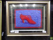 Sale 8561 - Lot 2016 - Georgina-Kay Holliday Red Shoe, needlework, 23 x 29cm (frame size), artist label verso