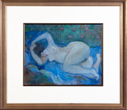 Sale 8677B - Lot 907 - Glen Preiss, reclining nude, acrylic, H 35cm x 44cm, signed lower left