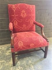 Sale 8976 - Lot 1046 - Pair of Georgian Style Mahogany Armchairs, with camel backs upholstered in red fabric with gold design, on square legs with stretche...
