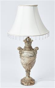 Sale 9080J - Lot 186 - An excellent quality large marble lamp, the double handled and fluted urn raised on a stepped circular base. Ht: 72cm to top of shade