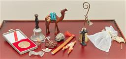 Sale 9098H - Lot 24 - A small group of miscellaneous items including a camel, a bell, coins, pen knife etc