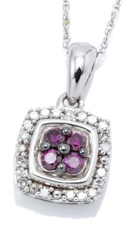 Sale 9132 - Lot 358 - A 10CT WHITE GOLD DIAMOND AND GEMSTONE PENDANT NECKLACE; featuring a 9.5 x 9.5mm cushion form cluster centring 4 round cut amethysts...