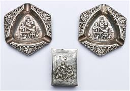 Sale 9144 - Lot 151 - A pair of Dutch silverplate ashtrays together with a matchbox holder,