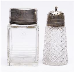 Sale 9170H - Lot 49 - An EP lidded etched glass canister together with a sugar sifter