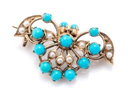 Sale 9221 - Lot 369 - A 9CT GOLD VICTORIAN STYLE TURQUOISE AND PEARL BROOCH; pierced stylised fan with articulated drop all set with turquoise beads and s...