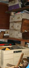 Sale 7670A - Lot 1075 - Contents of the timber cabinet with sliding doors, including paints and tools plus two shelf lots of tools and left hand side of bench