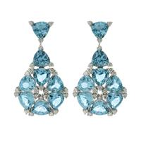 Sale 8221A - Lot 7 - 18ct White Gold Topaz Earrings; each with eight triangle cut topaz, to surround forty-eight round brilliant cut diamonds, 28mm in he...