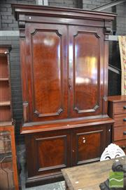 Sale 8291 - Lot 1055 - Good 19th Century Plum Pudding Veneered Mahogany Office Cabinet, with cedar secondaries, the upper doors enclosing a modern adjustin...