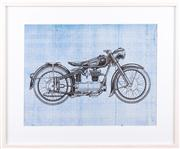 Sale 8308A - Lot 218 - Artist unknown, the motorcycle blueprint, 54 x 65cm inc. framing