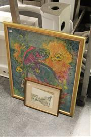 Sale 8346 - Lot 2025A - Artist Unknown - Marine Life Scene, mixed media, 63 x 51cm, signed lower right, and a framed decorative print of a Town Scene.