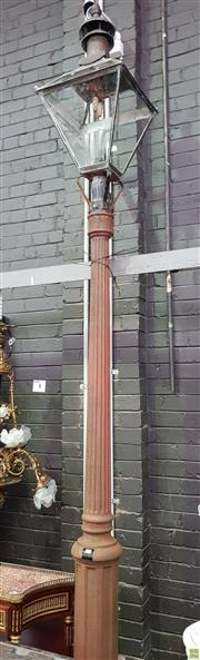Sale 8634 - Lot 1090 - Cast Iron Street Gas Light Post & Copper (?) Lantern, the square tapering lantern with door (missing 3 glass panes), on a fluted col...