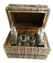 Sale 8828B - Lot 16 - An Art Deco French secret book stack tantalus, 2 bottle & 4 glasses, some small wear to edges. 15 x 17 x 10cm