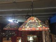 Sale 8839 - Lot 1325 - Collection of 4 Leadlight Shade Hanging Fittings