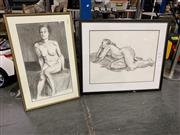 Sale 9036 - Lot 2055 - Darrel Fraser, Nude study, charcoal, 80 x 94cm (frame), signed lower right; together with another example (87 x 55cm)