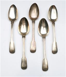 Sale 9098 - Lot 328 - Matched Set of Ten Georgian Sterling Silver Spoons incl. 5 Soup (wt.503g) and 5 dessert (wt. 299g), London, c. 1825 by William Johnso..