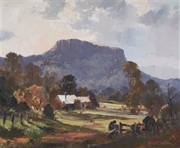 Sale 9141A - Lot 5088 - ROBERT WILSON (1942 - ) Silvery Light on Kangaroo Valley oil on canvas on board 44.5 x 54.5 cm, (frame: 64 x 73 x 4 cm) signed lower...