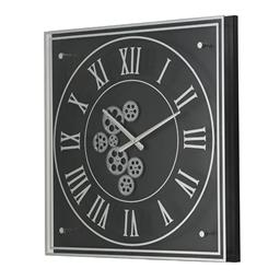 Sale 9140F - Lot 132 - A transitional silver and black gear square wall clock with roman numerals crafted from iron and glass. Dimensions: W61 x D61 x H6 cm
