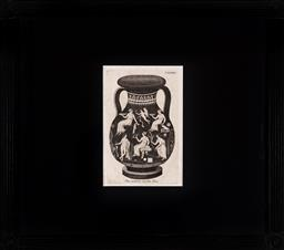 Sale 9130H - Lot 18 - A framed book plate depicting a twin handled etruscan vase, with Latin inscription to base Pars posterior eiusdem Vasis, frame siz...
