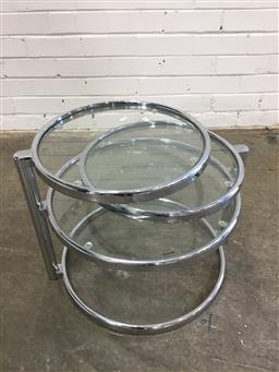 Sale 9151 - Lot 1287 - Chrome occasional table of 3 swivel tiers (h:40 x d:50cm)
