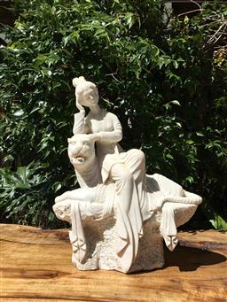 Sale 9175G - Lot 46 - Carved marble Lady and Tiger Sculpture.General Wear.Size: 50cm H