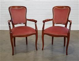 Sale 9255 - Lot 1031 - Pair of upholstered carvers (h:95 x w:57 x d:57cm)