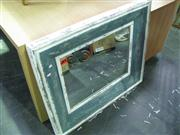 Sale 7932A - Lot 1178A - Distresed Blue & White Painted Mirror