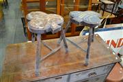 Sale 7987A - Lot 1249 - Pair of Shamrock Shaped Stools