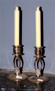 Sale 8127A - Lot 23 - A Pair of C19th Style Hecworth Silver Plated Candlesticks,