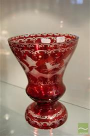 Sale 8217 - Lot 90 - Czech Bohemian Egermann Crystal Ruby Red Vase