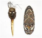 Sale 8267A - Lot 586 - Cassowary Bone Dagger, Mask and Phallocrypt (PNG)
