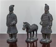 Sale 8270 - Lot 14 - A pair of terracotta warrior figures with a model of a horse, H 21cm