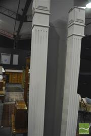Sale 8341 - Lot 1050 - Pair of White Painted Timber Column Supports (260cm)