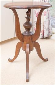 Sale 8550H - Lot 224 - A cedar occasional table with tripod base, Diam 48 x H 72cm