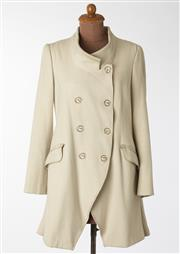Sale 8550F - Lot 164 - An Italian made double breasted Marithe Francois Girbaud wool blend cream A line jacket, with silver toned wire buttons and pockets,...