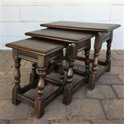 Sale 8607R - Lot 99 - Oak Nest of Three Tables (W: 61cm)