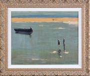 Sale 8677B - Lot 909 - P.W.Steer, figures on a lake, oil on board, signed lower right, 39cm x 49cm