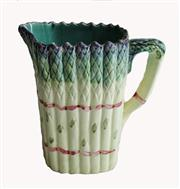 Sale 8828B - Lot 17 - Antique French majolica asparagus decorated jug. Height 22 cm