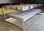 Sale 8942 - Lot 1002 - Modern Chrome Based Coffee Table with Step Side and Opaque Glass Tops (H: 41, L: 120, W: 60cm)