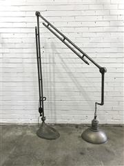 Sale 9056 - Lot 1050 - Large Articulated Floor Lamp with a Hanging Shade (H:226cm)