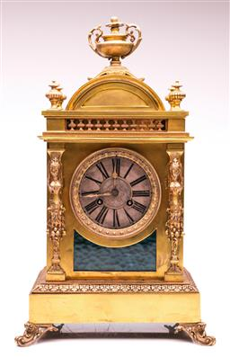 Sale 9097 - Lot 1039 - Late 19th Century French Brass Mantle Clock by Achille Brocot H: 46cm Condition-Good-UNTESTED-top moves from base, some bends to...