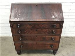 Sale 9126 - Lot 1202 - Late Georgian Mahogany Bureau, the fall-front with cross-banding, enclosing a plain fitted interior, above four graduated flame-vene...