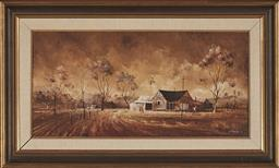 Sale 9150 - Lot 503 - STUART MCKENZIE CULLEN (1933 - ) Country Cottage by the Track, 1971 oil on canvas laid on board 28.5 x 59.5 cm (frame: 46 x 76 x 3 c...