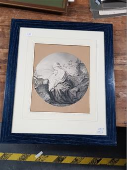 Sale 9127 - Lot 2088 - Artist Unknown 19th century Madonna & Child in a Landscape, ink and wash, frame: 54 x 46 cm, dated lower left -
