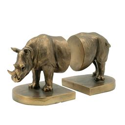 Sale 9140F - Lot 133 - A set of bronze coloured polyresin rhinoceros bookends. Dimensions: W27.5 x D12 x H15 cm
