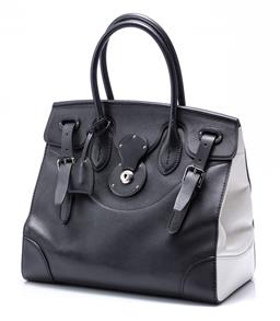 Sale 9186 - Lot 395 - A RALPH LAUREN BLACK AND WHITE LEATHER RICKY BAG; calfskin leather with rolled top handles and detachable adjustable shoulder strap,...