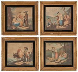 Sale 9196 - Lot 1004A - Set of Four C18th Hand-Coloured Engravings, of English, Scottish, Irish and Welsh Peasants, with verre eglomise matting & gilt gesso...